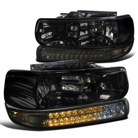 Spec-D Tuning For 1999-2002 Chevy Chevrolet Silverado 2000-2006 Tahoe Suburban Smoke Lens Headlights + Led Bumper Lights (Left+Right) 1999 2000 2001 2002 2003 2004 2005 (Chevrolet Silverado Truck Headlight Headlamp)