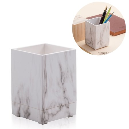 Desk Pen Holder - Zodaca White Marble Pen Pencil Ruler Stationery Holder Cup Office Desktop Organizer