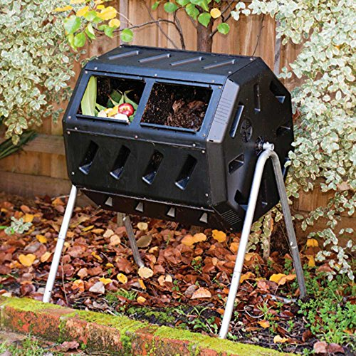Compost Tumbler, Two-Chambered Tumbling Composter, 37-gallon capacity by