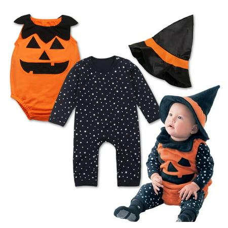 StylesILove Halloween Pumpkin Costume Pumpkin Vest, Romper and Hat 3-Piece (3-6 Months) (Pumpkin And Halloween)