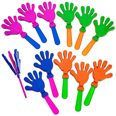 Plastic Hand Clappers - 12 Pack Assorted Colors – Party Favors - Toy For Kids, Easter Hunt – Noise Makers – By - Noise Maker Party Favors