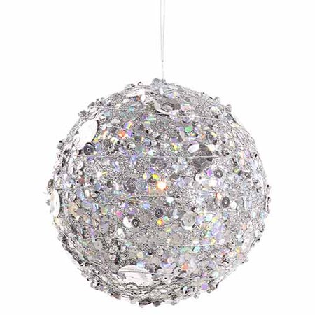 Pewter Sparkle Kissing Christmas Ball Ornament 4
