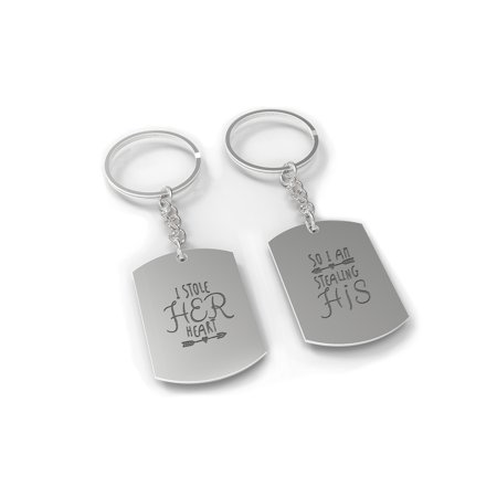 I Stole Her Heart, So I'm Stealing His Couple Key Chain Set - Engraved Key Rings](His And Hers Keychains)