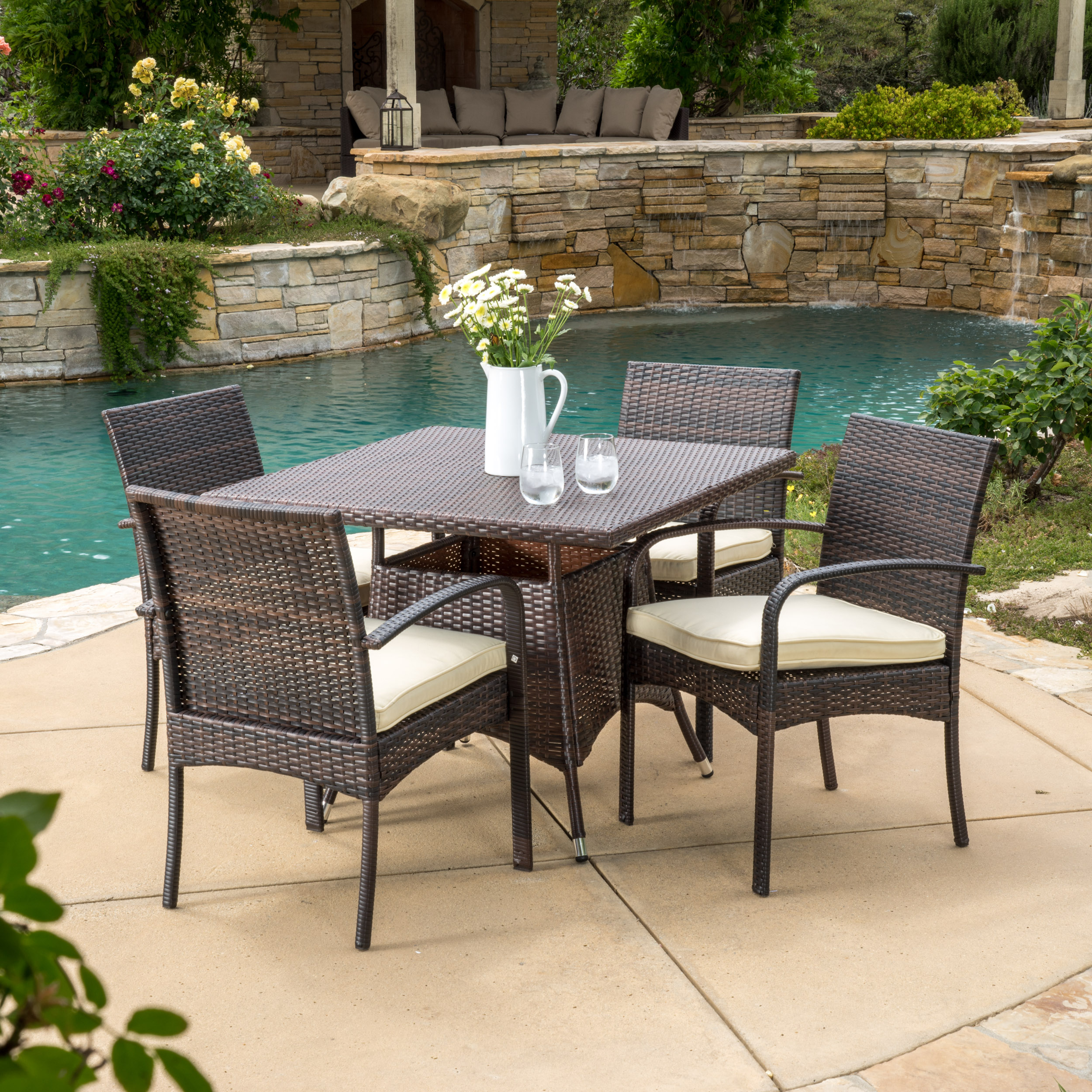Rosario 5 Piece Outdoor Square Wicker Dining Set, Multibrown
