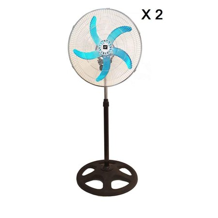 "SET of 2 Industrial | Commercial Strength Stand Fan 18"" 110V 3 Speed Level Adjustable Height Quiet Energy Efficient Oscillating Office Bedroom Warehouse - 5 Aluminium Blades For Extra Power"