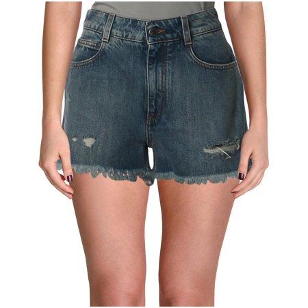 Stella McCartney Womens Medium Wash Distressed Denim (Adidas By Stella Mccartney Mini Track Shorts)