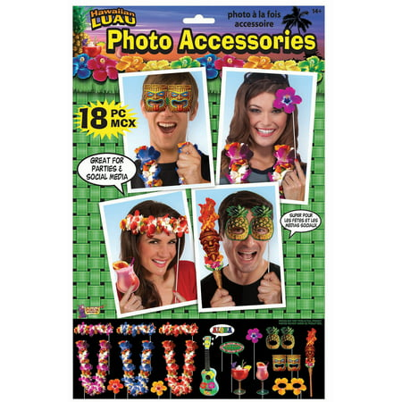 Forum Hawaiian Luau Party Accessories 18pc O/S Photo Booth Props (Hawaiian Attire For Party)