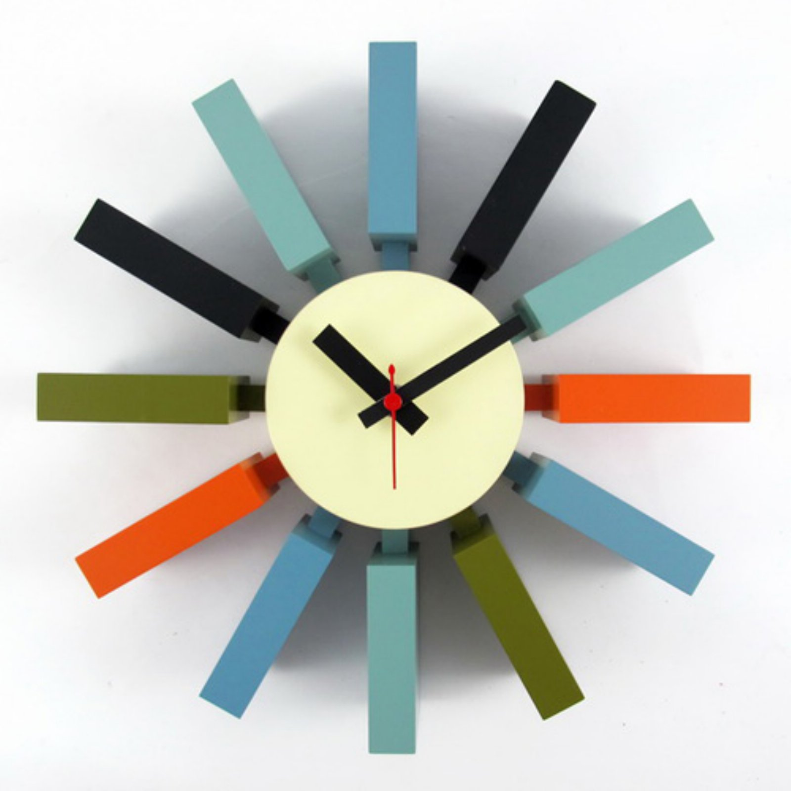 George Nelson Multi-Color Block 11.41 in. Wall Clock