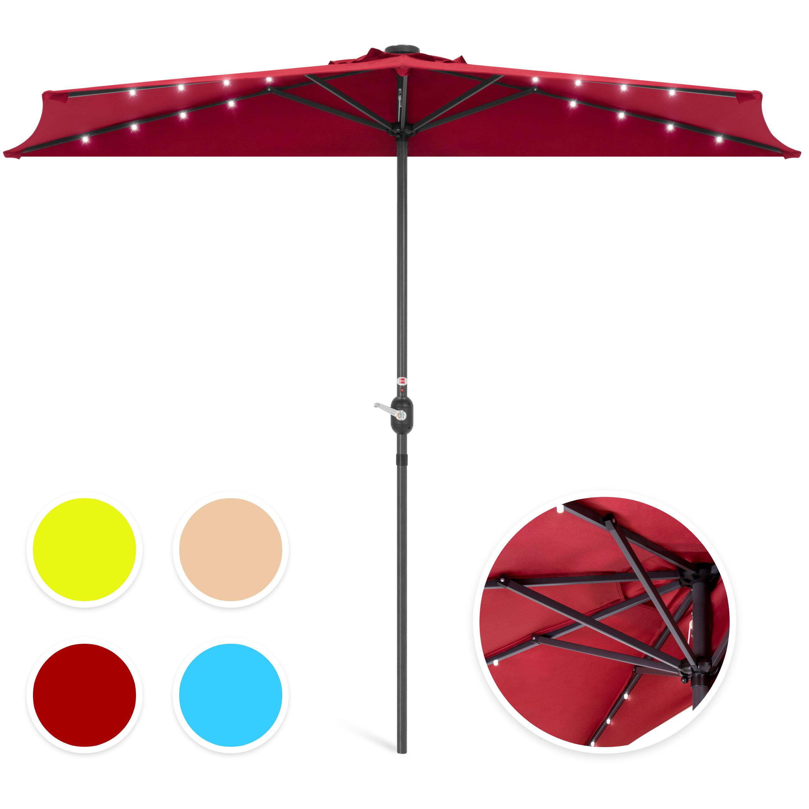 Best Choice Products 8.5ft Solar LED Half Patio Umbrella w/ Crank - Tan
