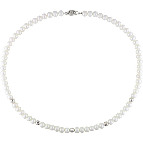 Miabella 6mm-7mm White Freshwater Pearl Necklace with Sterling Silver Mirror Beads, 18