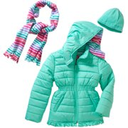 Girls' Puffer Jacket with Pockets, Hood, and Scarf