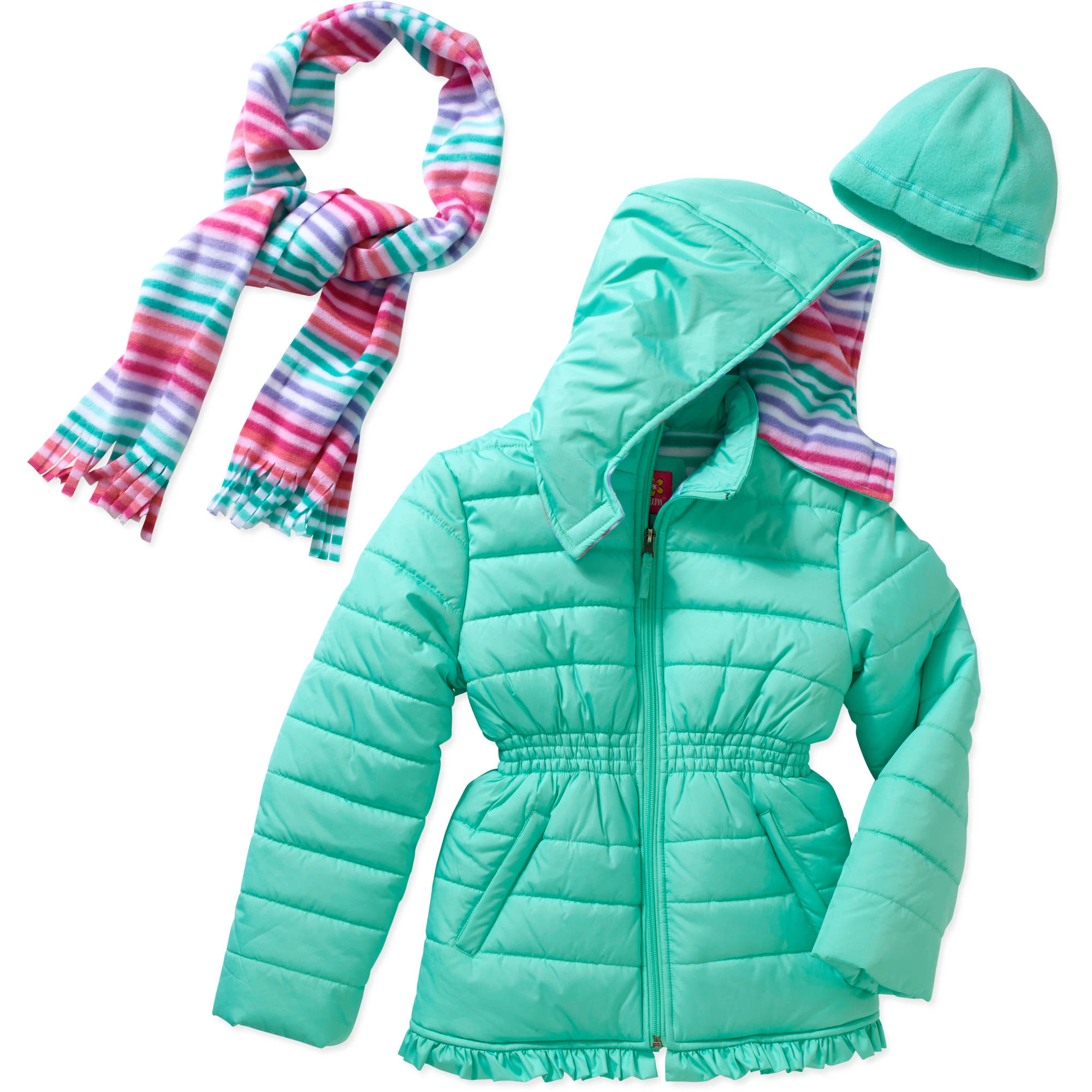 Pink Platinum Girls' Puffer Jacket with Pockets, Hood, and Scarf