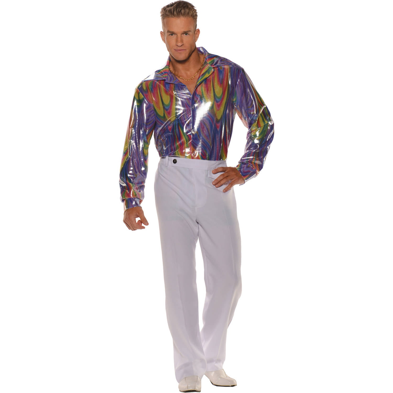 disco shirt men's adult halloween costume - walmart