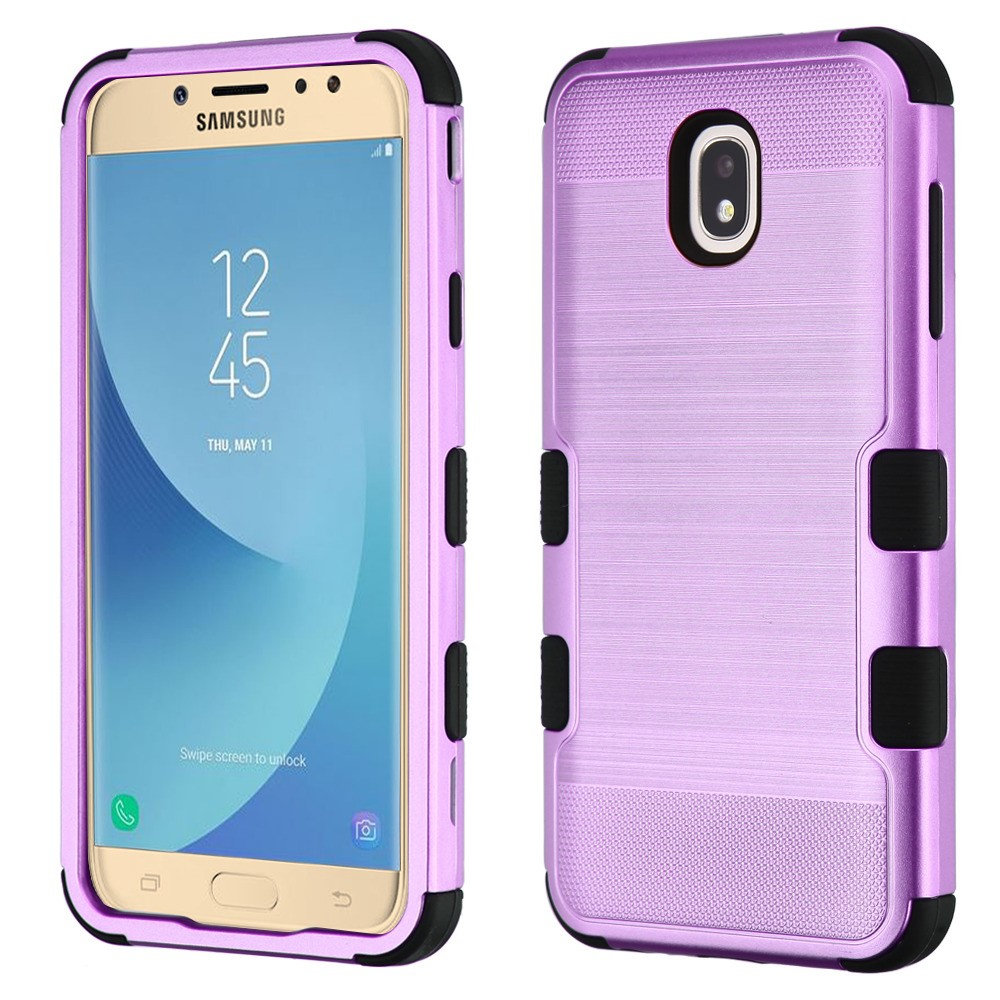 TUFF Hybrid Series Military Grade Certified Metallic Brushed Slate Finish Phone Protector Cover Case and Atom Cloth for Samsung Galaxy J7 Star - Purple/Black