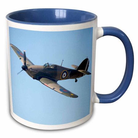 3dRose Hawker Hurricane, British and allied WWII Fighter Plane-AU02 DWA6007 - David Wall - Two Tone Blue Mug, 11-ounce (Ally Coffee)