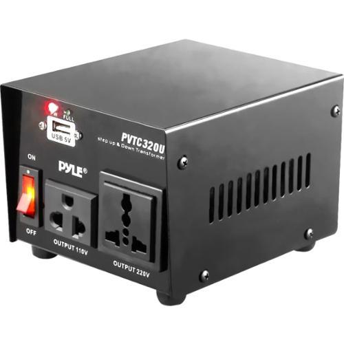 Pyle PVTC320U 500W Step Up/Step Down Voltage Converter Transformer w/ USB Port