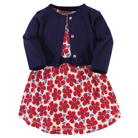 Touched by Nature Baby & Toddler Girls Organic Cotton Dress & Cardigan, 2pc Outfit Set (0M-5T)