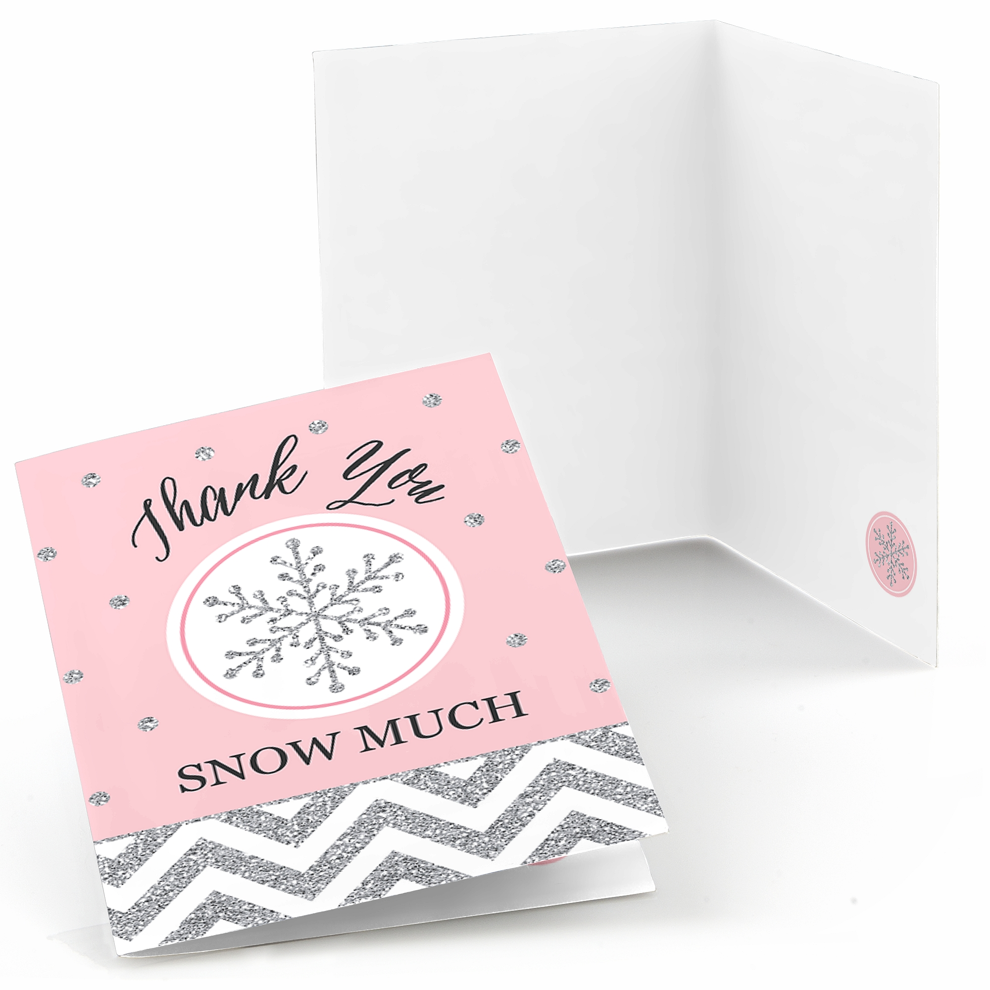 Pink Winter Wonderland - Holiday Snowflake Birthday Party or Baby Shower Thank You Cards (8 count)