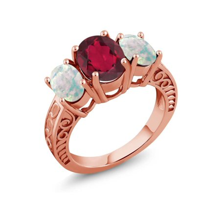 3.06 Ct Oval Red Mystic Quartz Simulated Opal 18K Rose Gold Plated Silver Ring