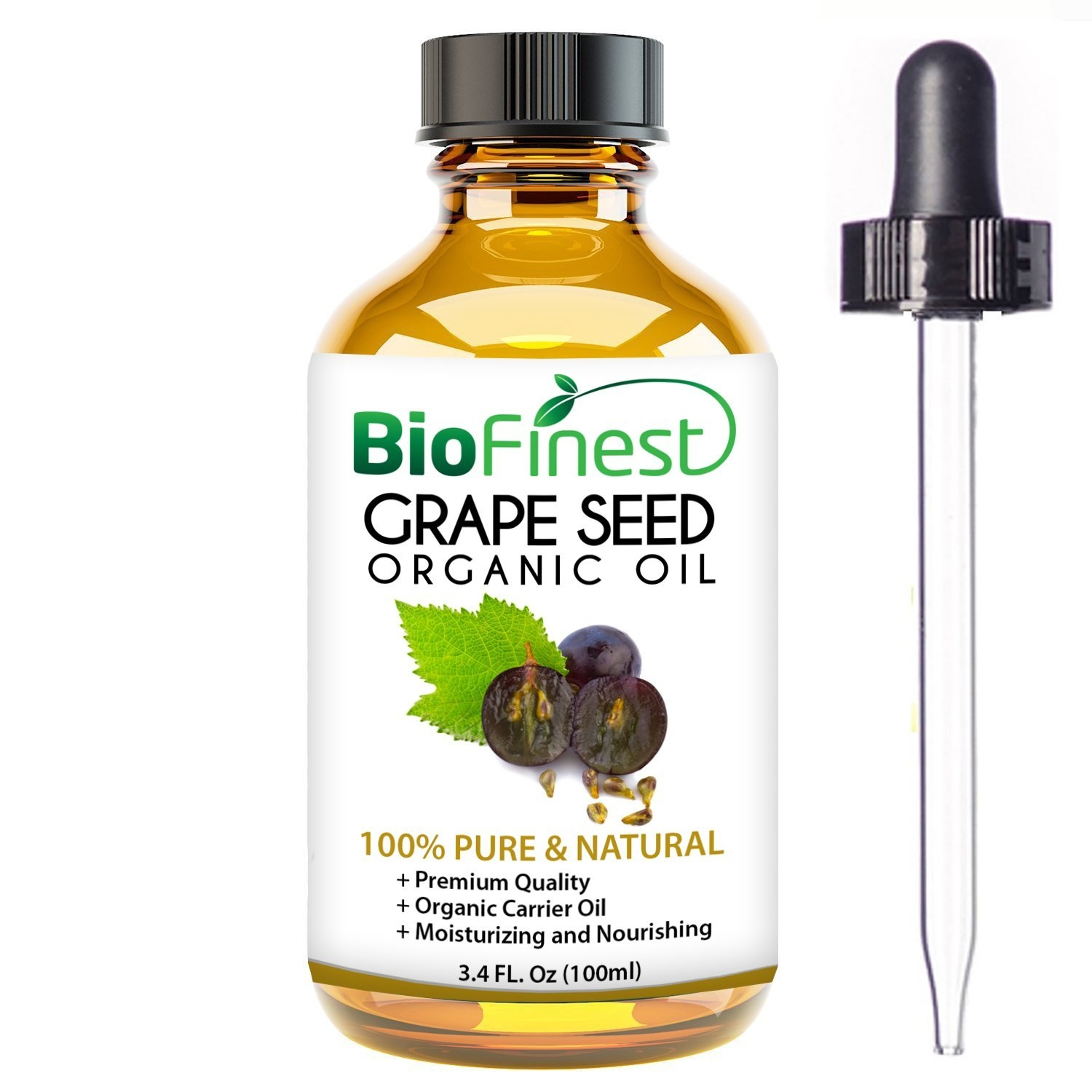 BioFinest Grape Seed Organic Oil for Hair, Face & Skin - 100% Pure, Natural, Cold Pressed - Certified Organic - Anti-Aging, Anti-Oxidant moisturizer - FREE E-Book and Dropper (100ml)