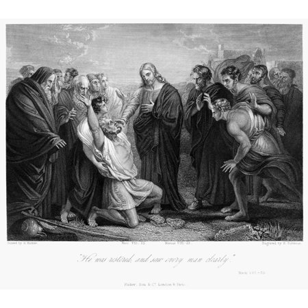 Jesus Healing Blind Man Nsteel Engraving After The Painting By Henry Richter 19Th Century Rolled Canvas Art -  (24 x 36) - Jesus Heals The Blind Man