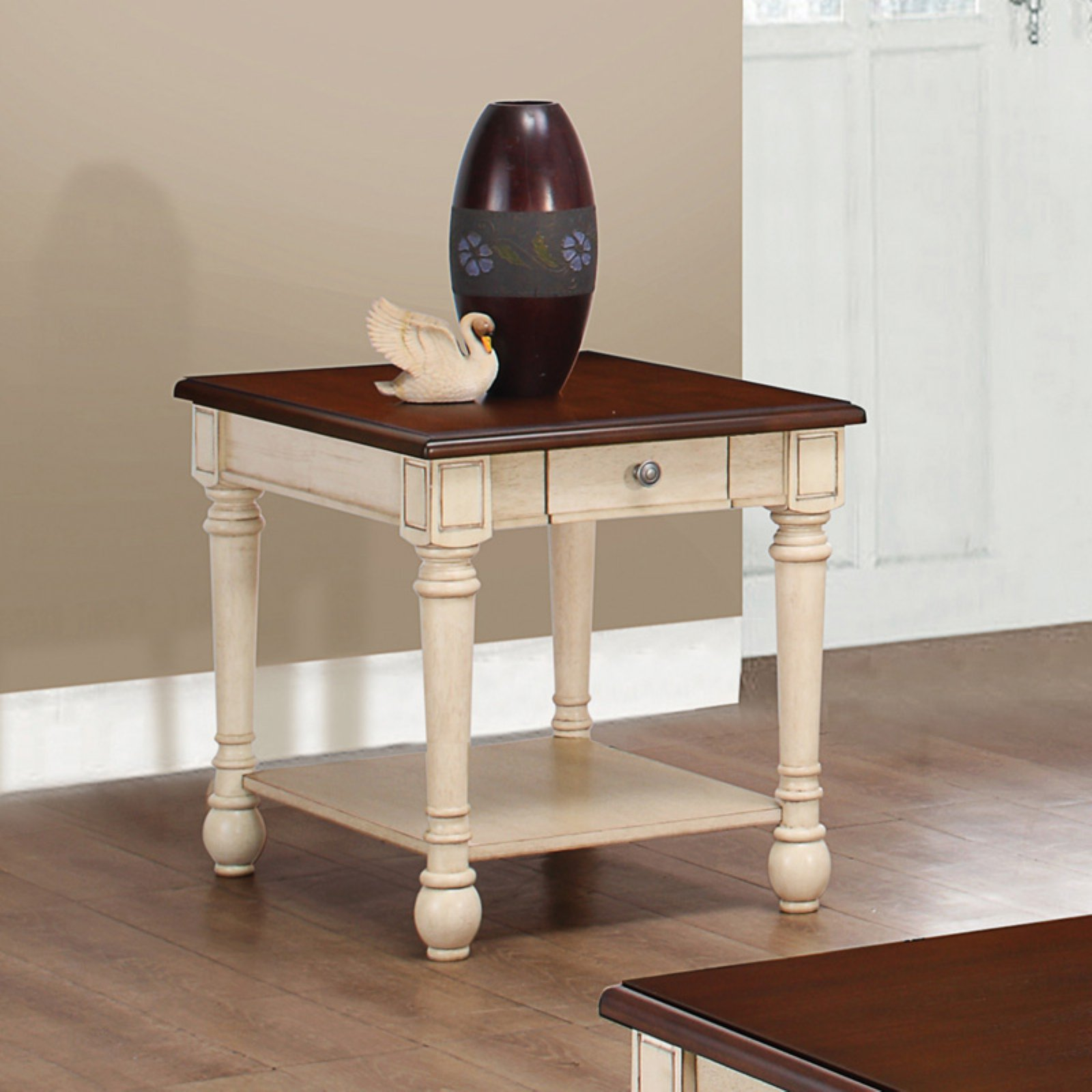 Coaster Company End Table, Dark Cherry and Antique White