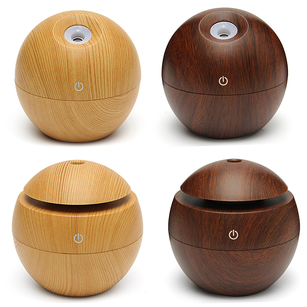 Meigar Wooden Aroma Diffuser Humidifier,Essential Oil Diffuser Air Purifier Portable Grain 130ml Touch Sensitive for Home, Office, Baby Room, Bedroom