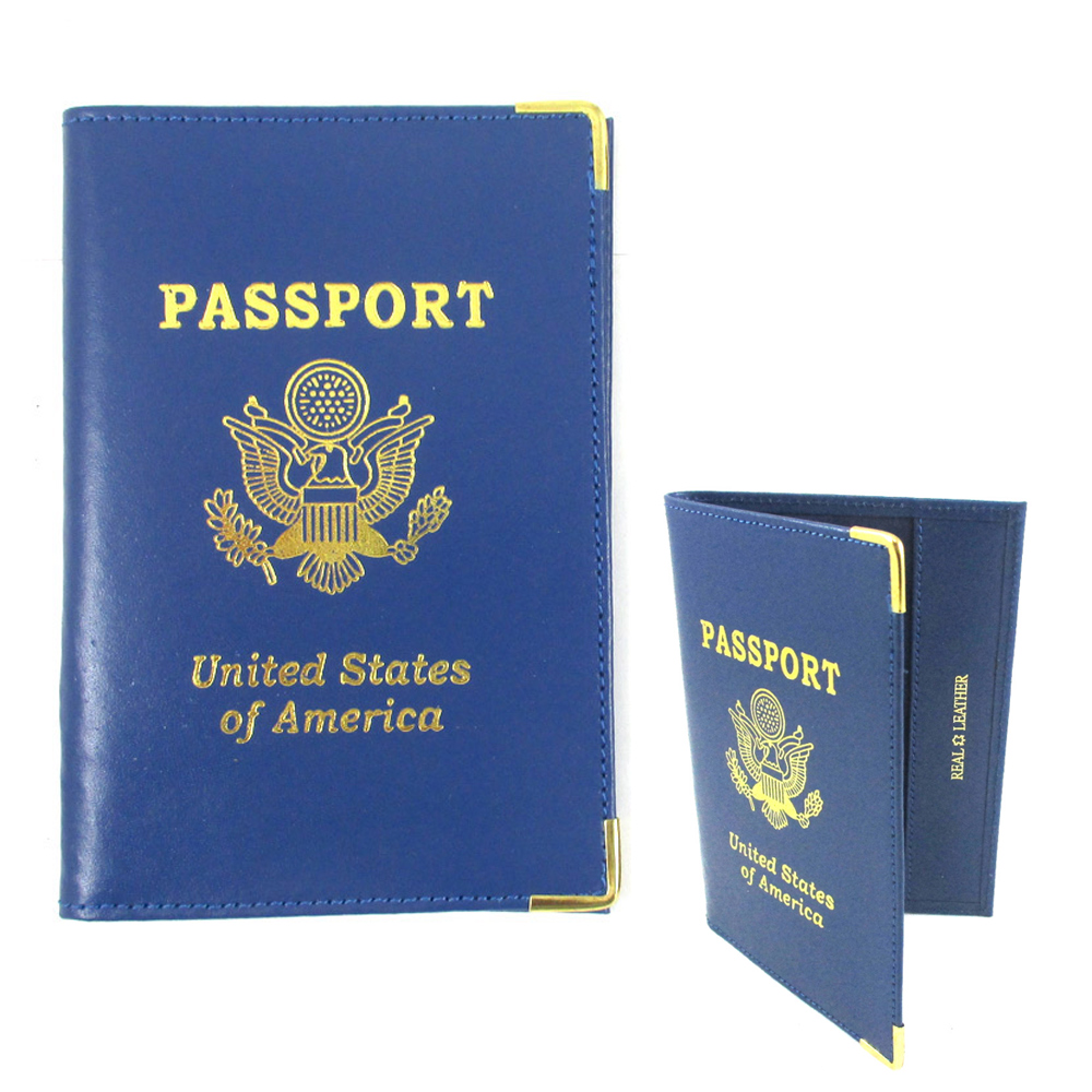 4 Genuine Leather Passport Cover Holders ID Wallet Case Travel  Blue Gold New !