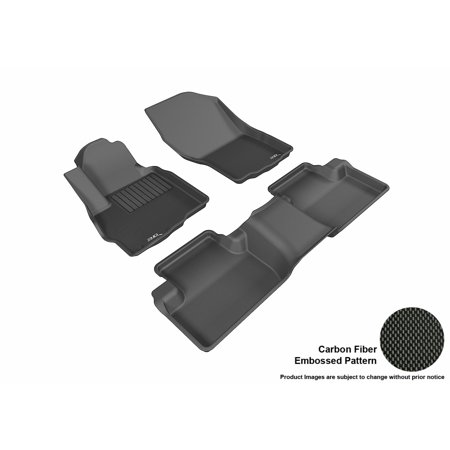 3D MAXpider 2011-2017 Mitsubishi Outlander Sport Front & Second Row Set All Weather Floor Liners in Black with Carbon Fiber (Rt5 Carbon)