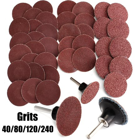 2 Inch 40pcs 40/80/120/240 Assorted Grits Type R Sandpaper Sanding Buffing Polishing Disc Plate Pad Wheel Abrasive + Mandrel (Buffing Grains)
