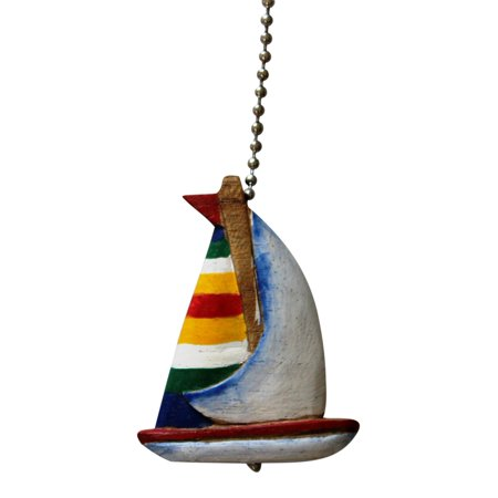 Tropical Sailboat Ceiling Fan or Light Pull Hand Carved (Sailboat Pull)