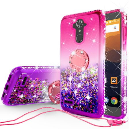 ZTE Max XL, ZTE Blade Max 3, Max Blue Case, Slim TPU Glitter Bling Rhinestone Ring Kickstand Phone Cover with Strap - -