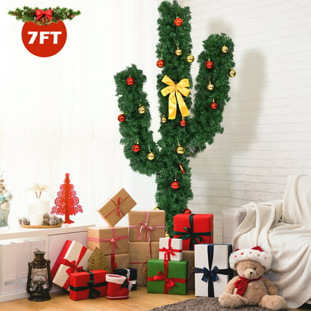 Topbuy 7' Artificial Cactus Christmas Tree Pre-Lit Optical Fiber w/ LED Lights & Ball Ornaments ()