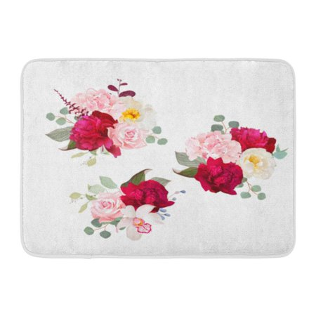 GODPOK Bouquets of Rose Peony Green and Pink Hydrangea Orchid and Eucalyptus Leaves Romantic Gifts All are Rug Doormat Bath Mat 23.6x15.7 inch