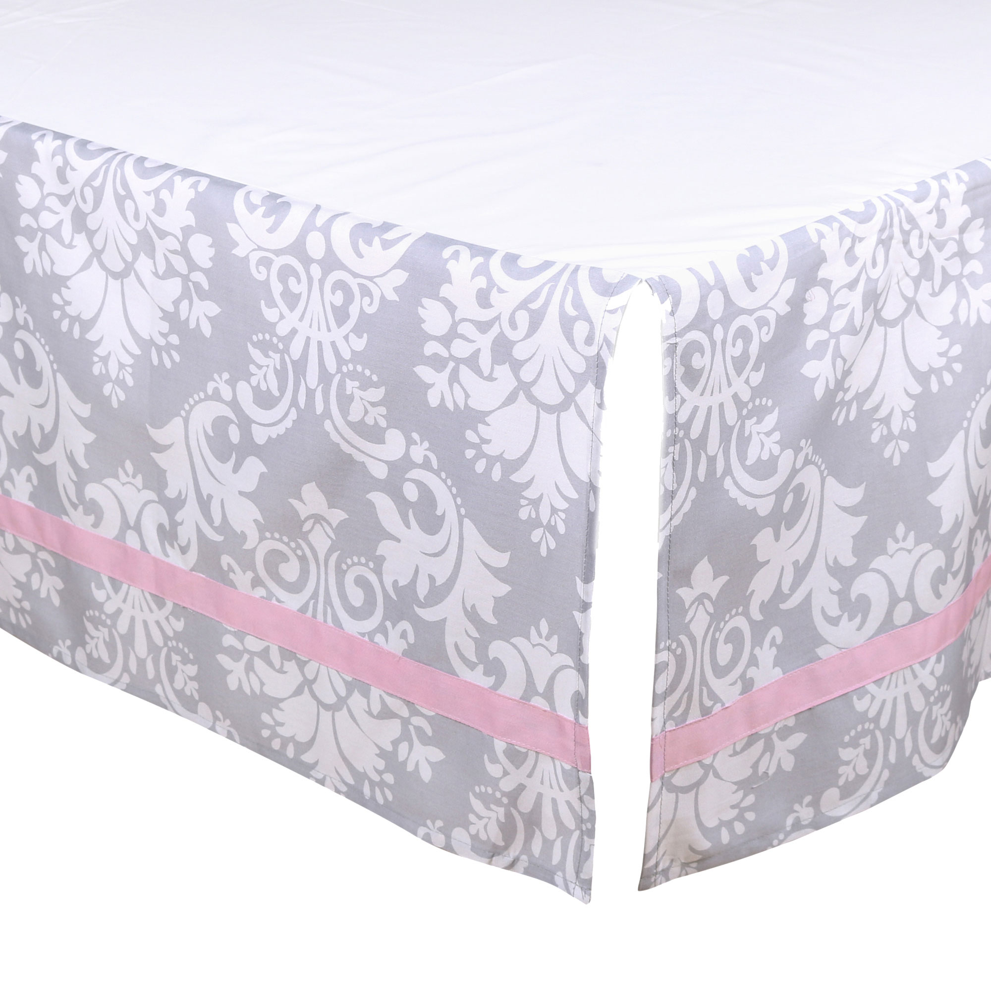 The Peanut Shell Tailored Crib Skirt - Grey Floral Damask Design with Pink Trim - 100% Cotton Sateen 14 Inch Drop, Standard Crib