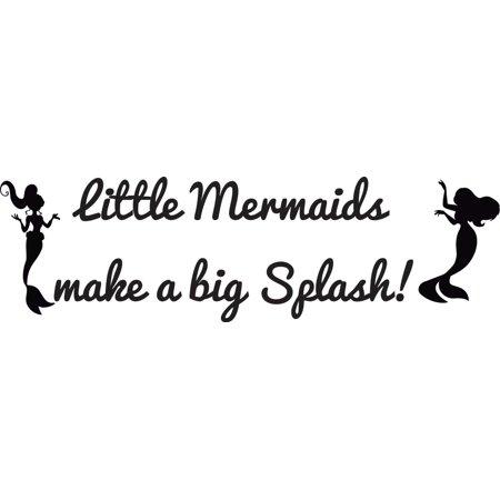 Little Mermaids Make A Big Splash Silhouette Bedroom Decor Custom Wall Decal Vinyl Sticker 7 Inches X 18 - Bug Silhouette
