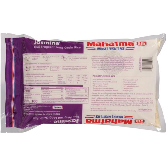 Mahatma Jasmine Thai Long Grain Rice, 5-Pound Bag - Walmart com