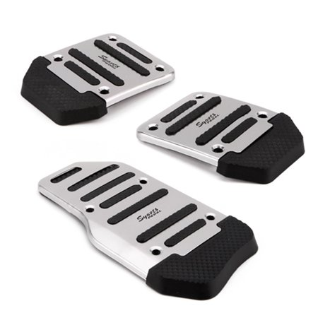 - HDE 3 Piece Non Slip Pedal Kit Gas Clutch Brake Cover Pads for Manual Transmission Vehicles (Chrome and Black)