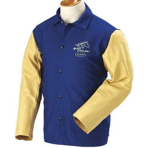 BLACK STALLION FRB9-30C/PS Welding Jacket, FR, Pig Grain, Navy, M