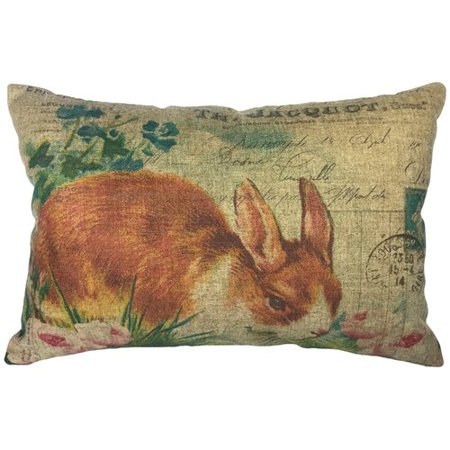 August Grove Cambell French Bunny Linen Lumbar Pillow - Bunny French