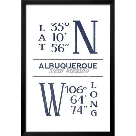 Albuquerque, New Mexico - Latitude and Longitude (Blue) Framed Print ...