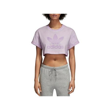 Adidas Originals Top - adidas Originals Womens Crop Fitness Pullover Top Purple L