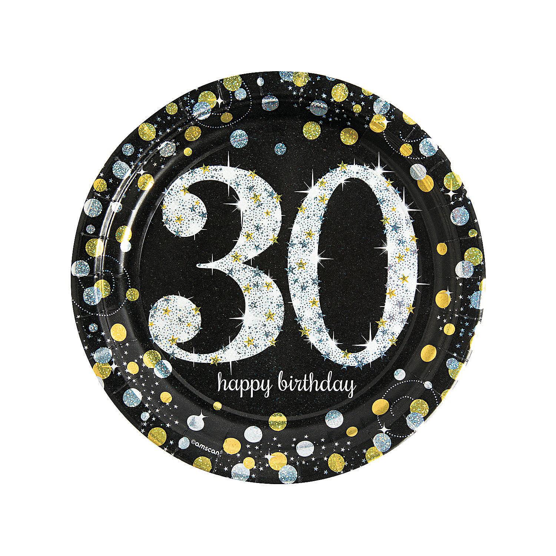 IN-13773831 Sparkling Celebration 30th Birthday Paper Dinner Plates 8 Piece(s) 2PK