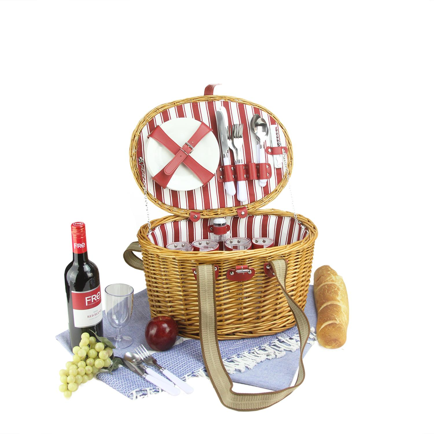 Northlight 4-Person Hand Woven Honey Willow Striped Picnic Basket Set With Accessories
