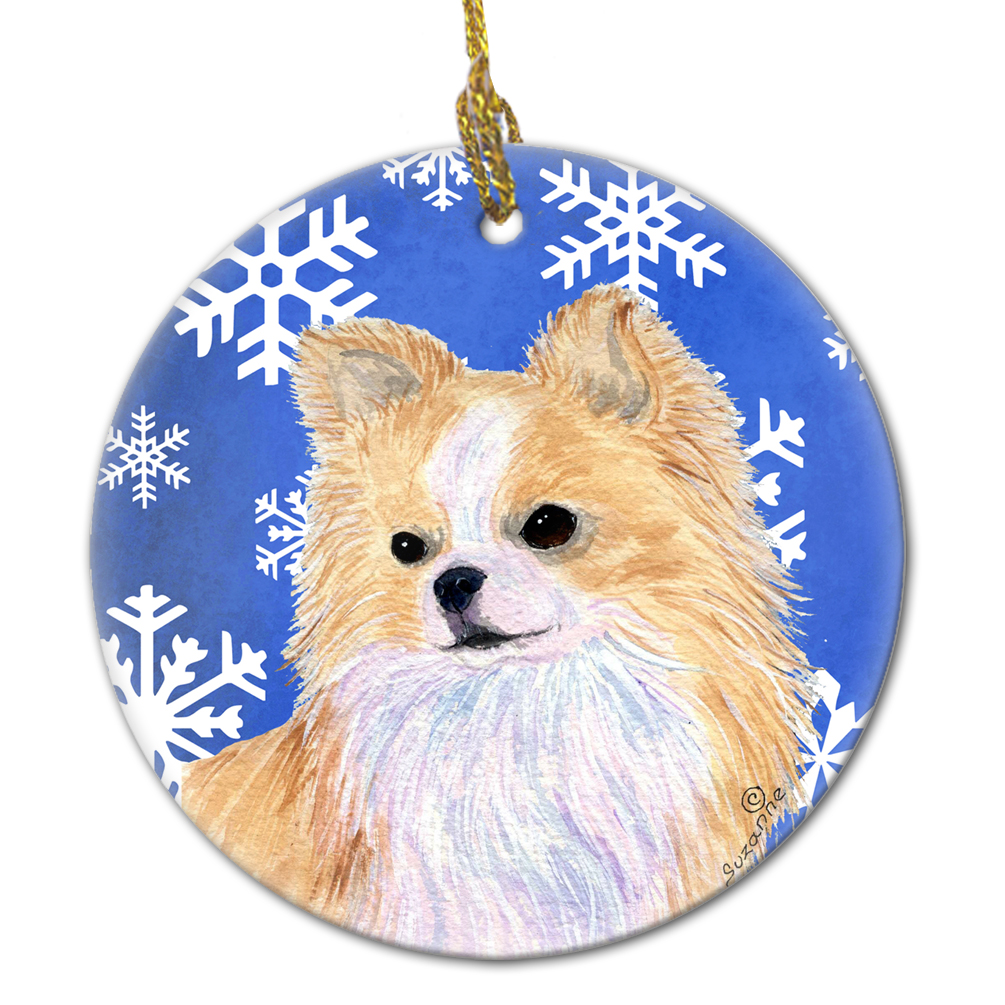 Chihuahua Winter Snowflakes Holiday Christmas Ceramic Ornament SS4611