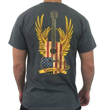 Country Life Guitar Gray Short Sleeve Shirt (Medium)