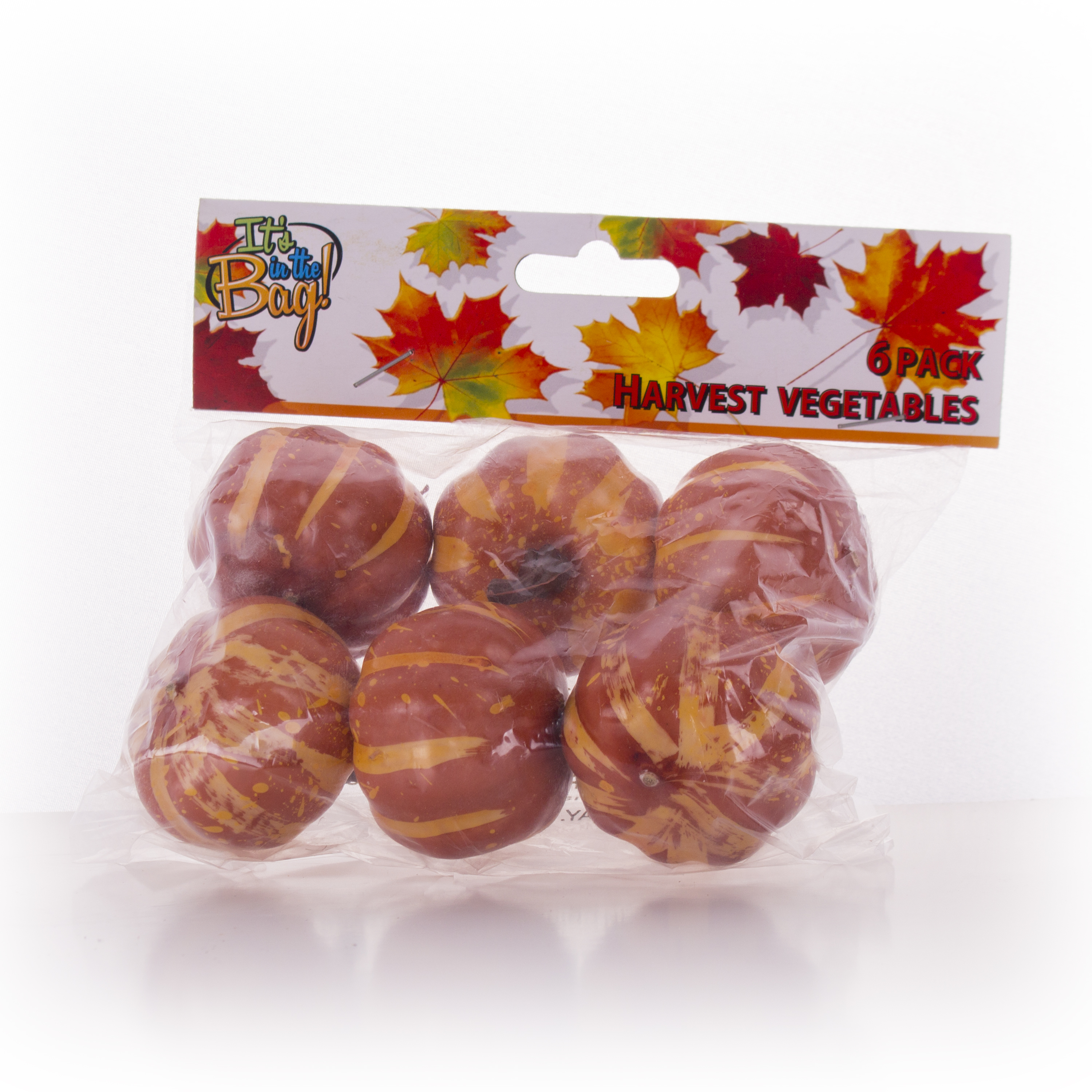 "Mini Plastic Pumpkin Harvest Vegetables 5"" Decoration Pack, Multicolors, 6 CT"