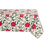 """Green and Red Woodland Christmas Icons Square Tablecloth 52"""""""