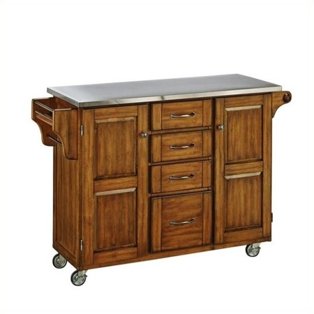 Cottage Collection Trundle - Hawthorne Collections Stainless Steel Top Kitchen Cart in Cottage Oak
