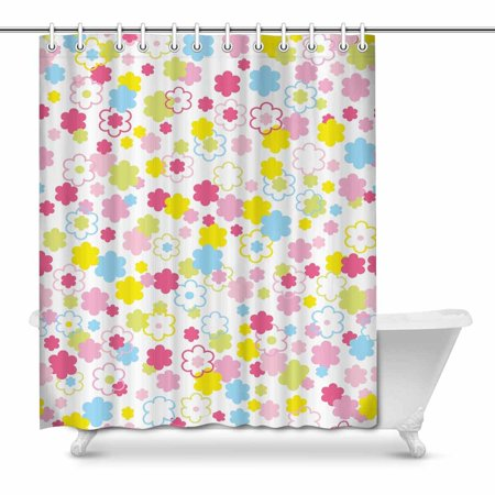 POP Colful Cute Flowers Country for Bathroom Shower Curtain 66x72 inch - image 1 of 1